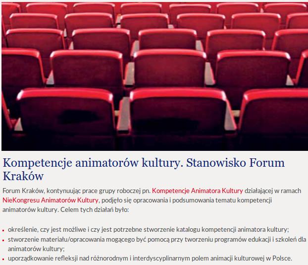 Kompetencje animatora kultury w perspektywie kształcenia na specjalizacji Animacja Kultury w Instytucie Kultury Polskiej na Uniwersytecie Warszawskim